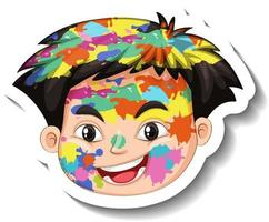 Happy boy face with colour on his face sticker on white background vector