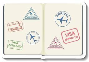 Opened passport with visa stamp cartoon sticker vector