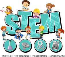 STEM logo with many children and learning icons vector