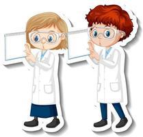 Pegatina de personaje de dibujos animados con una pareja de científicos en bata de ciencia vector