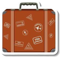 Leather suitcase with traveller's sticker cartoon sticker vector