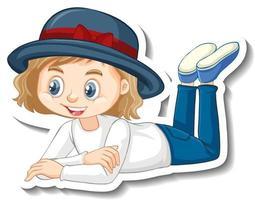 una niña tendida pose personaje de dibujos animados vector