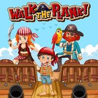 Walk The Plank font banner with pirate cartoon character vector