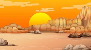 Empty desert forest landscape at sunset time scene vector