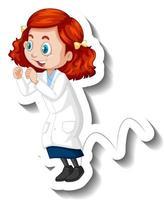 pegatina de personaje de dibujos animados con una chica en bata de ciencia vector