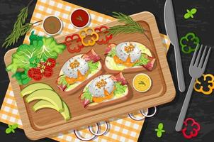 Bruschetta on wooden plate with fresh vegetables on table background vector