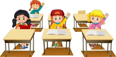 Students raising their hands on white background vector