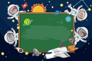 Empty blackboard with astronaut kids cartoon character vector