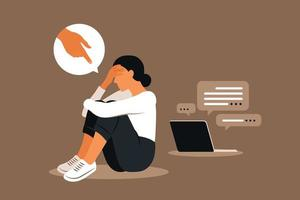 Cyber bullying. Depressed people sitting on the floor. vector