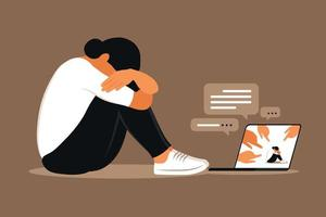 Cyber bullying. Depressed woman sitting on the floor. vector