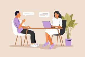 conversación de entrevista de trabajo. gerente de recursos humanos y candidato a un puesto de trabajo. vector