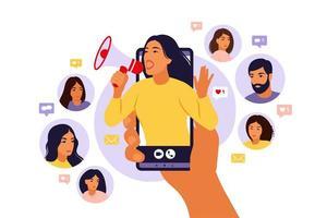 Influencer marketing, social media or network promotion. vector