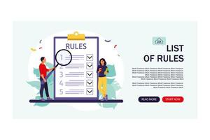 People studying list of rules, making checklist. Landing page. vector