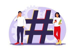 hashtag y concepto de redes sociales. personas con símbolo hashtag. vector