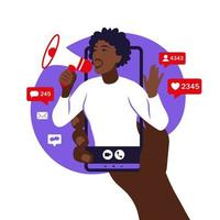 Influencer marketing, social media or network promotion. B vector