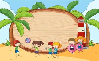 Beach scene with blank wooden board with kids doodle cartoon character vector
