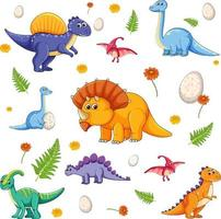 Set of isolated various dinosaurs cartoon character vector