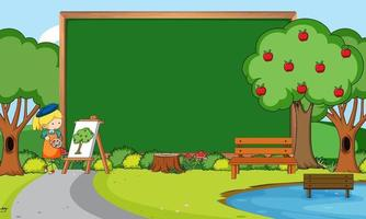 Empty blackboard in nature scene with an artist girl drawing vector