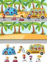 Different beach scenes with doodle kids cartoon character vector