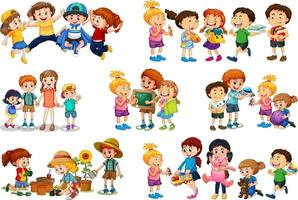 Set of different kid playing with their toys on white background vector