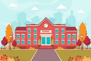 School building. Back to school. Autumn vector