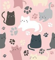 Cute cats doodle in diferent style seamless pattern vector