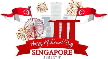 Singapore National Day banner with Marina Bay Sands Singapore vector
