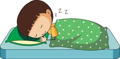 Little boy sleeping doodle cartoon character isolated vector