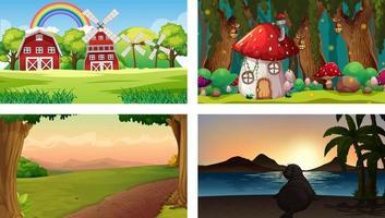 Four nature different scenes vector