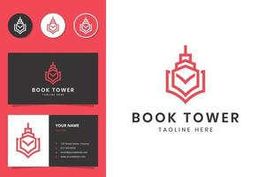 book and tower line art logo design and business card vector