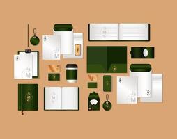 mockup set with green branding vector design