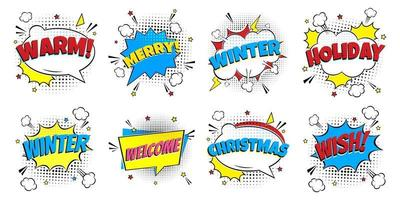 8 Comic Winter Lettering In The Speech Bubbles Comic Style vector