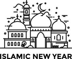 Monoline design style of islamic new year 2021 vector
