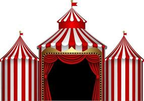 isolated circus stage with red and white stripes and red curtain vector