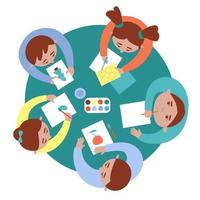 Top view of drawing children at the table vector