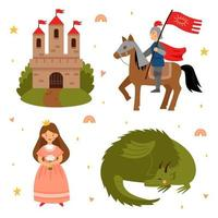 Vector set of fairy tale characters. Princess, knight and castle.