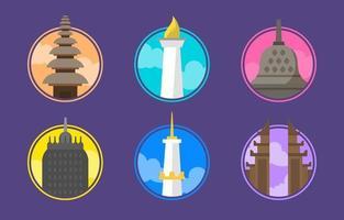 Indonesia Landmark Icon Collection vector
