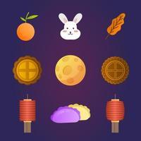 Mid Autumn Chuseok Festivity Element Collection vector