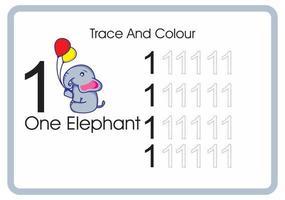 contar el rastro y el color del elefante número 1 vector