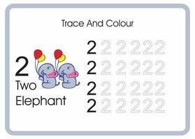 contar el rastro y el color del elefante número 2 vector