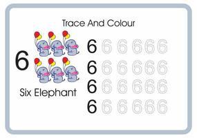 contar el rastro y el color del elefante número 6 vector