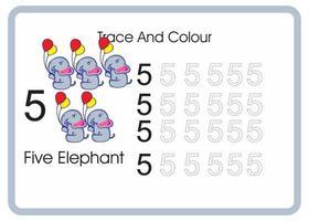 contar el rastro y el color del elefante número 5 vector