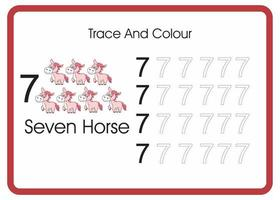 count trace an colour horse number 7 vector