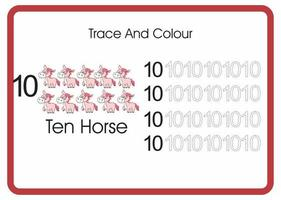 count trace an colour horse number 10 vector
