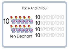 contar el rastro y el color del elefante número 10 vector