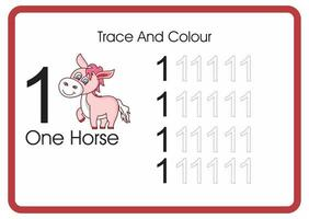count trace an colour horse number 1 vector