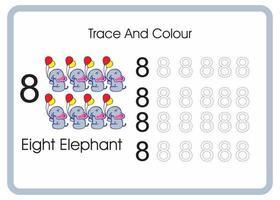 contar el rastro y el color del elefante número 8 vector