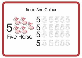 count trace an colour horse number 5 vector
