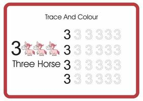 count trace an colour horse number 3 vector