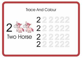 count trace an colour horse number 2 vector